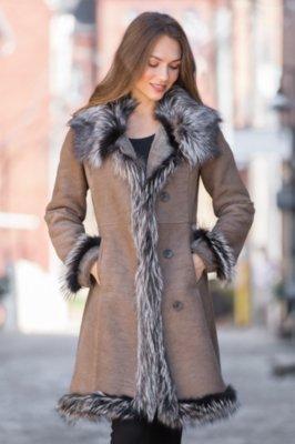 Tonya Shearling Sheepskin Coat with Fox Fur Trim