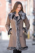 Tonya Shearling Sheepskin Coat with Fox Fur Trim