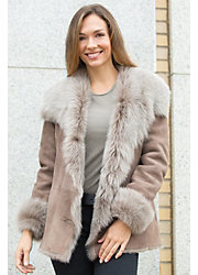 Sybil Shearling Sheepskin Jacket with Toscana Trim
