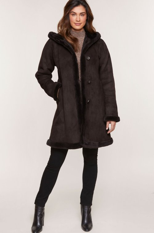 Krista Hooded Shearling Sheepskin Coat