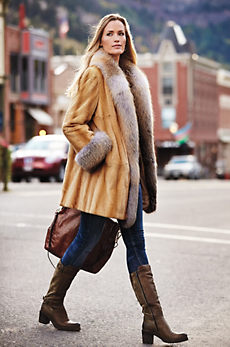 Rosanna Danish Mink Fur Coat with Fox Fur Trim