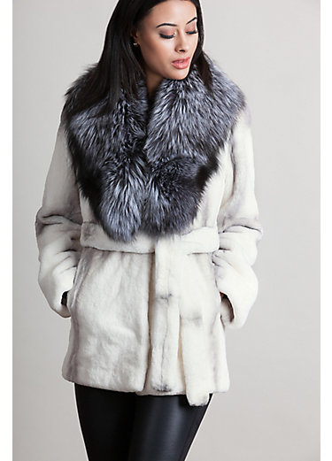 Lola Rex Rabbit Fur Coat with Silver Fox Fur Collar