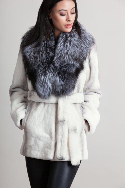 Lola Rex Rabbit Fur Coat with Silver Fox Fur Collar