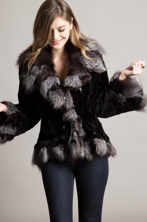 Marisol Mink Fur Jacket with Fox Fur Trim