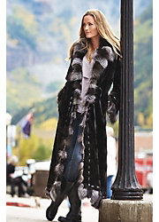 Maertisa Mink Fur Coat with Silver Fox Fur Trim