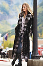 Maertisa Mink Fur Coat with Silver Fox Fur Trim