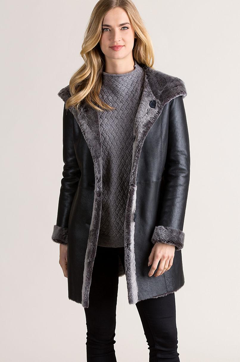 Joanne Hooded Reversible Spanish Merino Sheepskin Coat