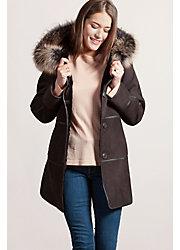 Jasmine Reversible Spanish Merino Shearling Sheepskin Coat with Fox Fur Trim