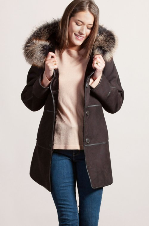 Jasmine Reversible Spanish Merino Shearling Sheepskin Coat with Fox Fur Trim