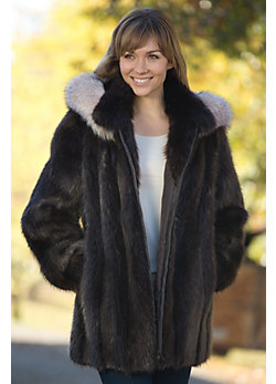 Marisa Long-Haired Beaver Fur Coat with Fox Fur Trim