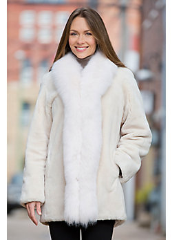 Simone Beaver Fur Coat with Fox Fur Trim