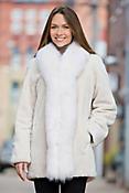 Simone Beaver Fur Coat with Fox Fur Trim