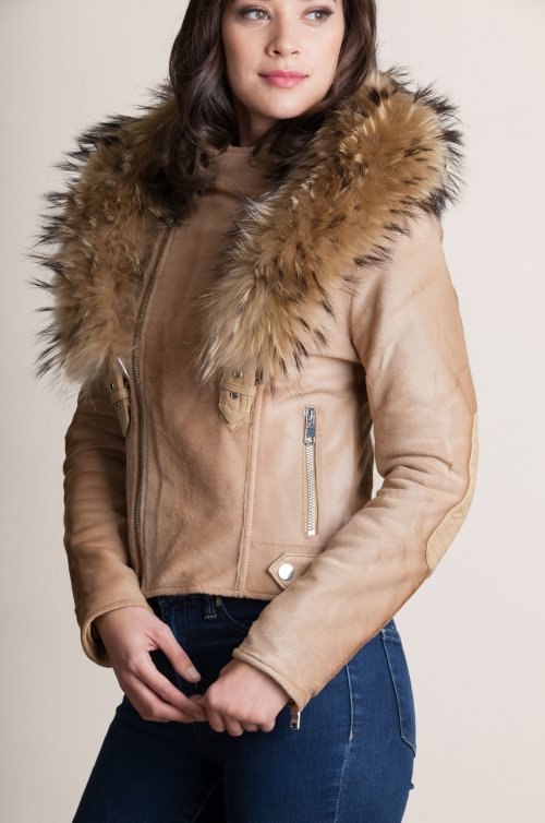Starr Calfskin Leather Moto Jacket with Detachable Raccoon Fur Collar