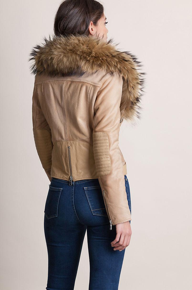 Starr Calfskin Leather Moto Jacket with Detachable Raccoon Fur Collar