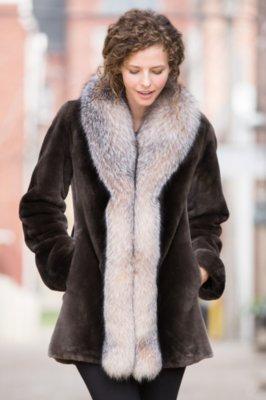 Milana Beaver Fur Coat with Fox Fur Trim