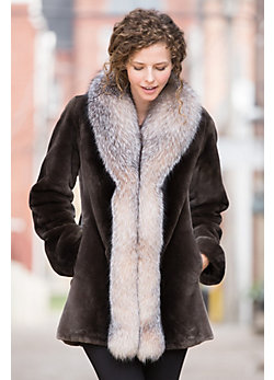 Milana Beaver Fur Coat with Fox Fur Trim