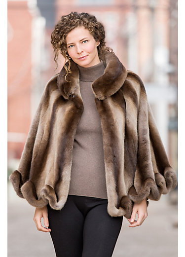 Aster Long-Haired Mink Fur Cape