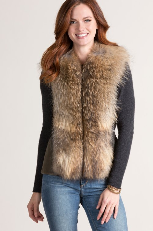 Roxy Lambskin Leather Vest with Raccoon Fur Trim