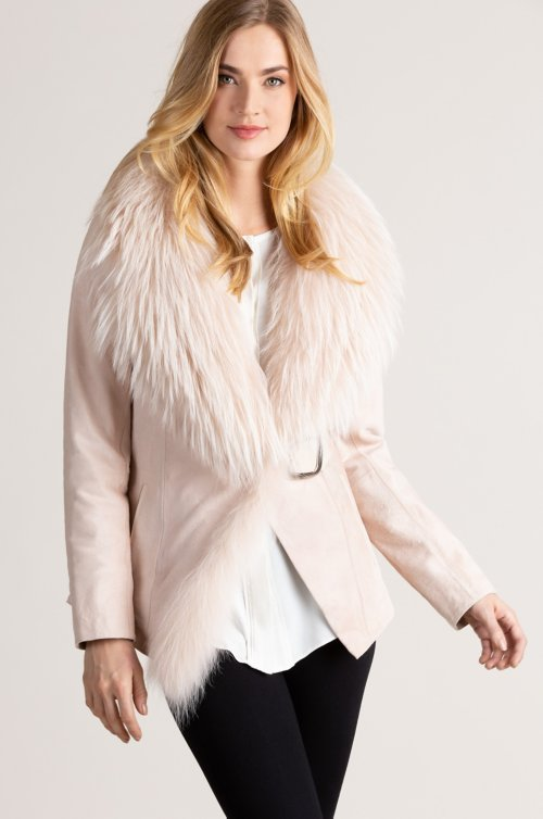 Yvette Turkish Calfskin Leather Jacket with Raccoon Fur Trim