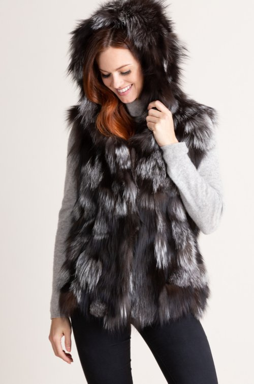 Devana Hooded Silver Fox Fur Vest