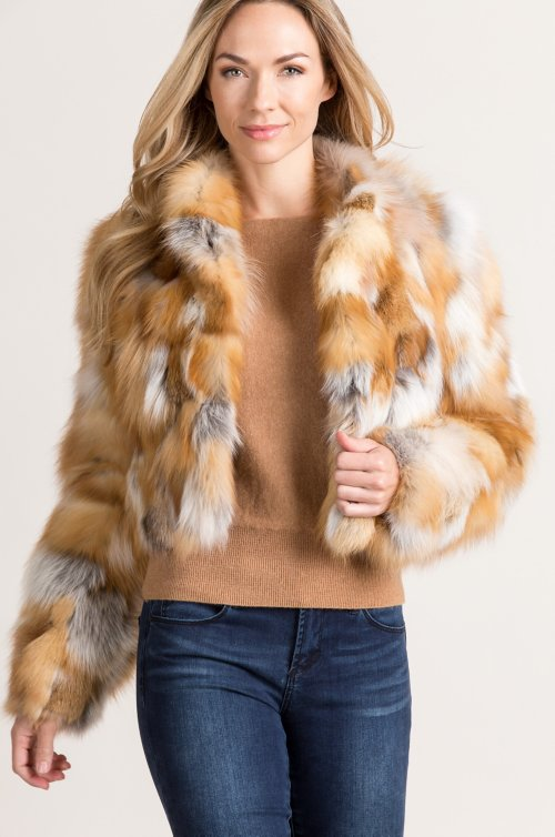 Aurora Red Fox Fur Bolero Jacket
