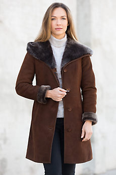 Delia Hooded Shearling Sheepskin Coat