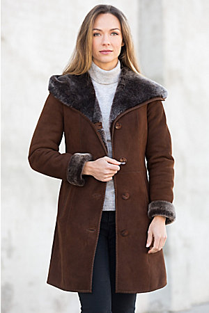 Delia Hooded Shearling Sheepskin Coat | Overland