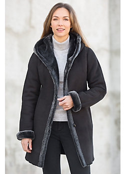 Gloria Hooded Shearling Sheepskin Coat