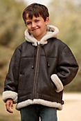 Children's Winston Sheepskin B-3 Bomber Jacket with Hood