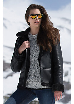 Lizzie Hooded Shearling Sheepskin Bomber Jacket