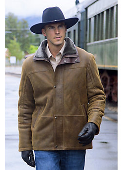 Telluride Sheepskin Coat with Leather Trim