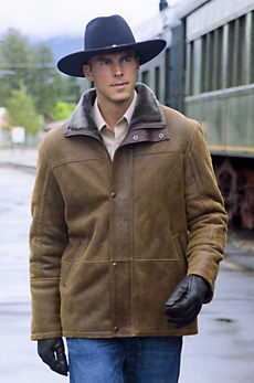 Telluride Sheepskin Coat with Leather Trim