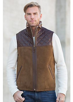 Norwich Shearling Sheepskin Vest with Lambskin Leather Trim
