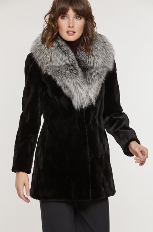 Diana Danish Mink Fur Jacket with Silver Fox Fur Collar