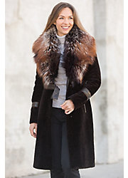 Rochelle Astrakhan Lamb Coat with Silver Fox Fur Collar