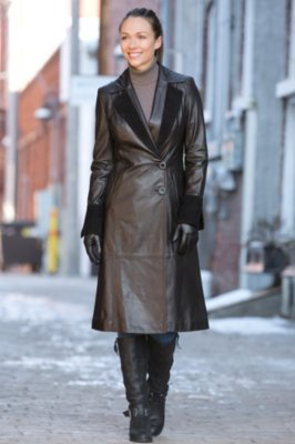 Zia Lambskin Leather Coat with Suede Trim