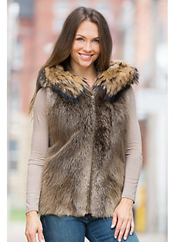 Demi Long-Haired Beaver Fur Vest with Raccoon Fur Trim