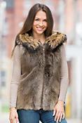 Demi Long-Haired Beaver Fur Vest with Raccoon Fur Trim
