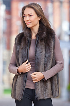 Diane Long-Haired Beaver Fur Vest