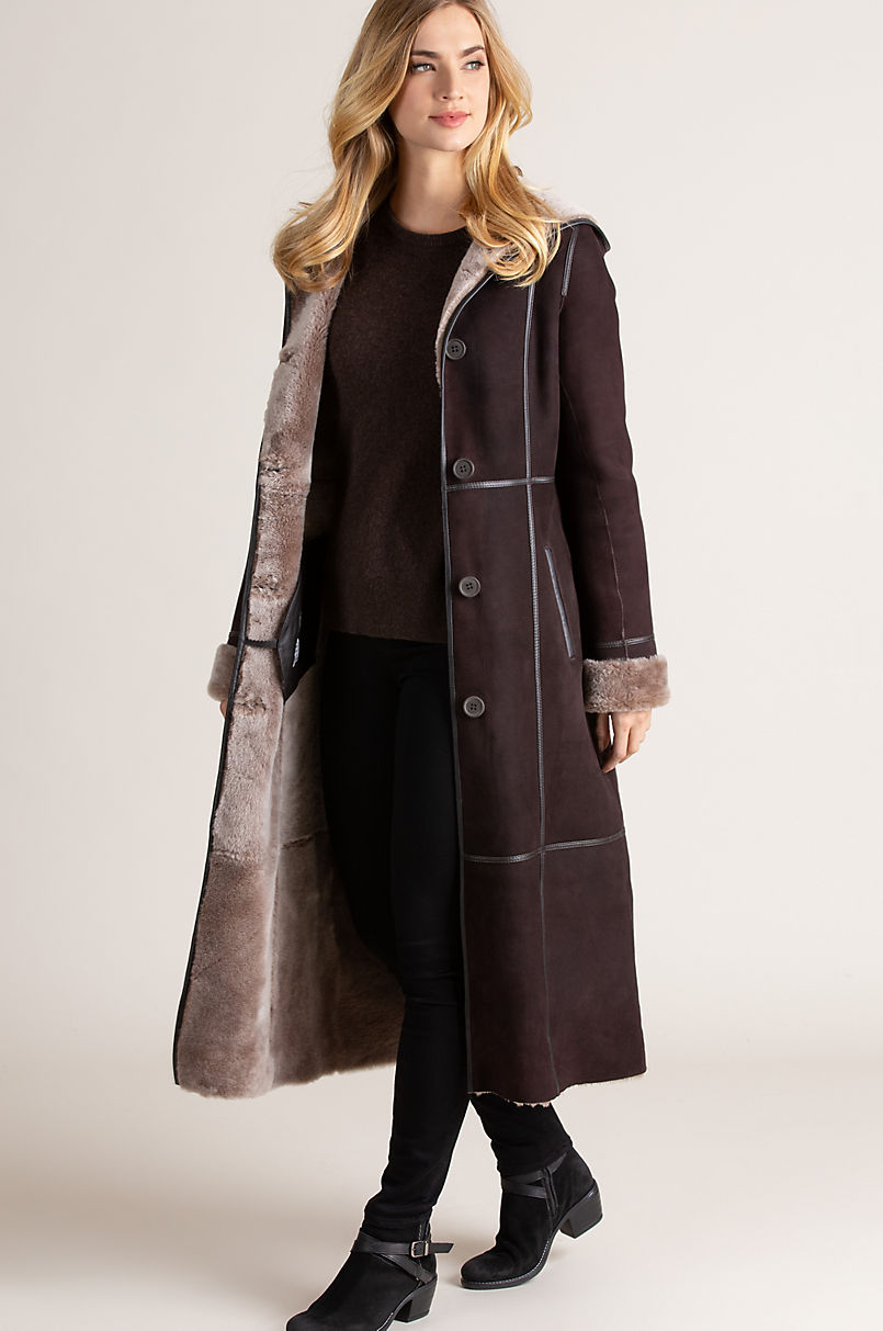 Mary Hooded Spanish Shearling Sheepskin Coat with Leather Trim