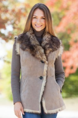 Alicia Toscana Sheepskin Vest with Toscana Trim