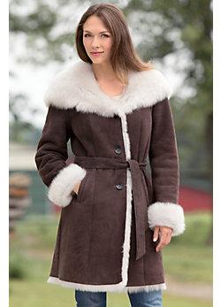 Liane Shearling Sheepskin Coat with Toscana Trim