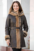 Antonia Hooded Shearling Sheepskin Coat with Toscana Trim