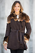 Phoenix Shearling Sheepskin Coat with Rabbit Fur Trim