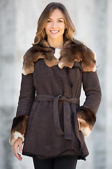 Phoenix Shearling Sheepskin Coat with Rabbit Fur Trim