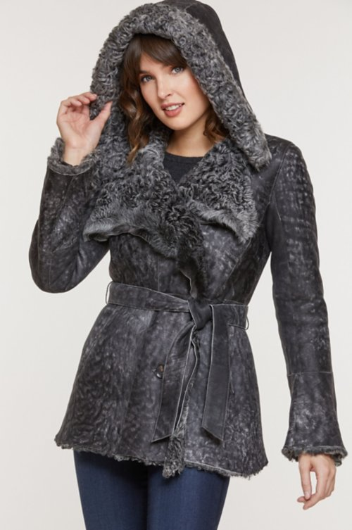 Perugia Hooded Raw Edge Curly Sheepskin Coat
