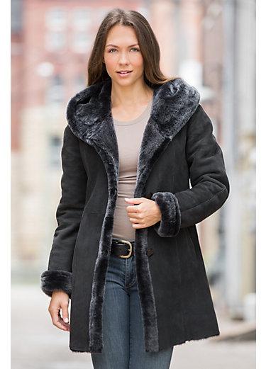 Gloria Hooded Shearling Sheepskin Coat