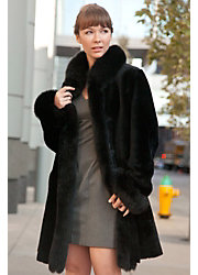 Chantal Reversible Sheepskin Coat with Black Fox Fur Trim