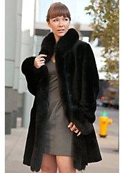 Chantal Reversible Sheepskin Coat with Black Fox Fur Trim
