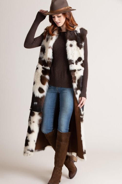 Margot Reversible Full-Length Spanish Toscana Sheepskin Vest